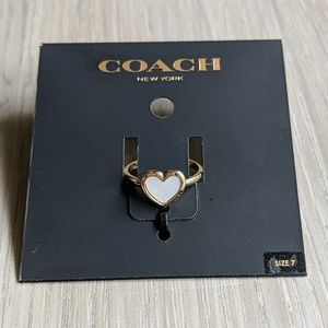 Coach Pearl Heart Ring